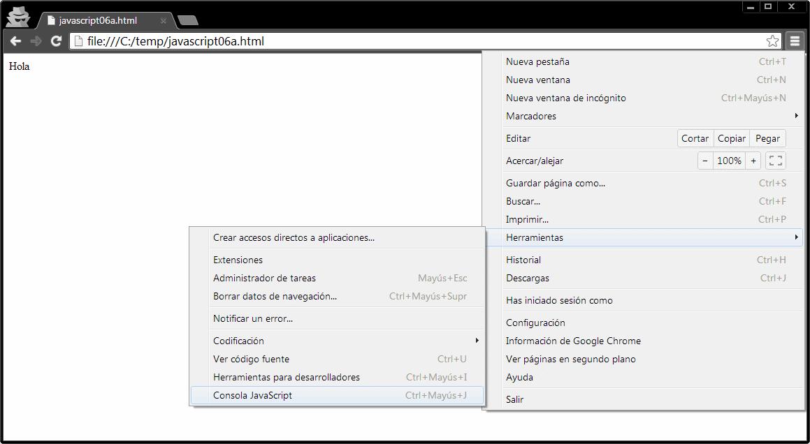 Acceso a consola en Chrome