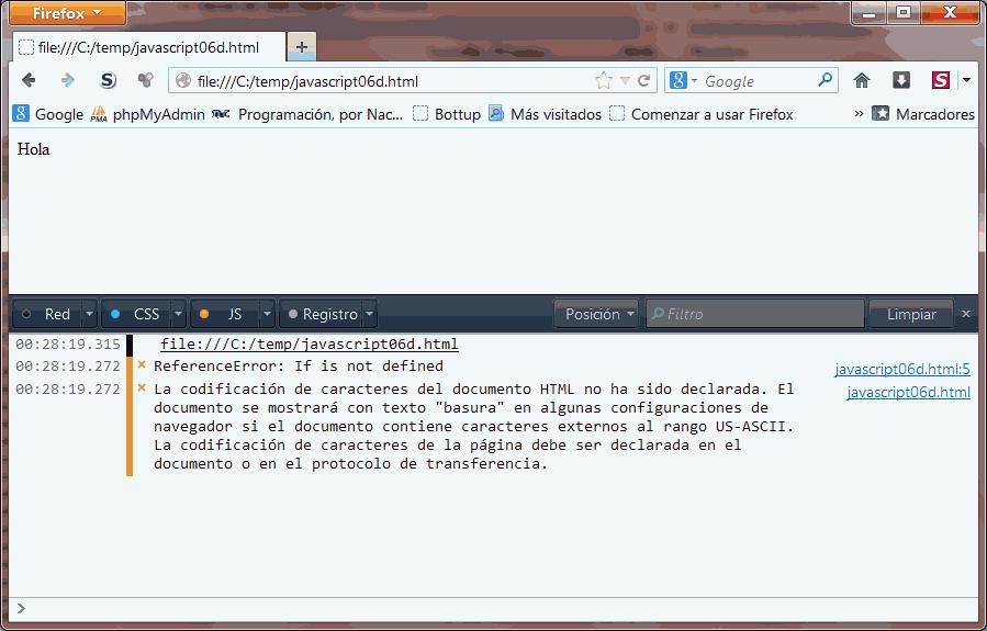 Errores en Firefox